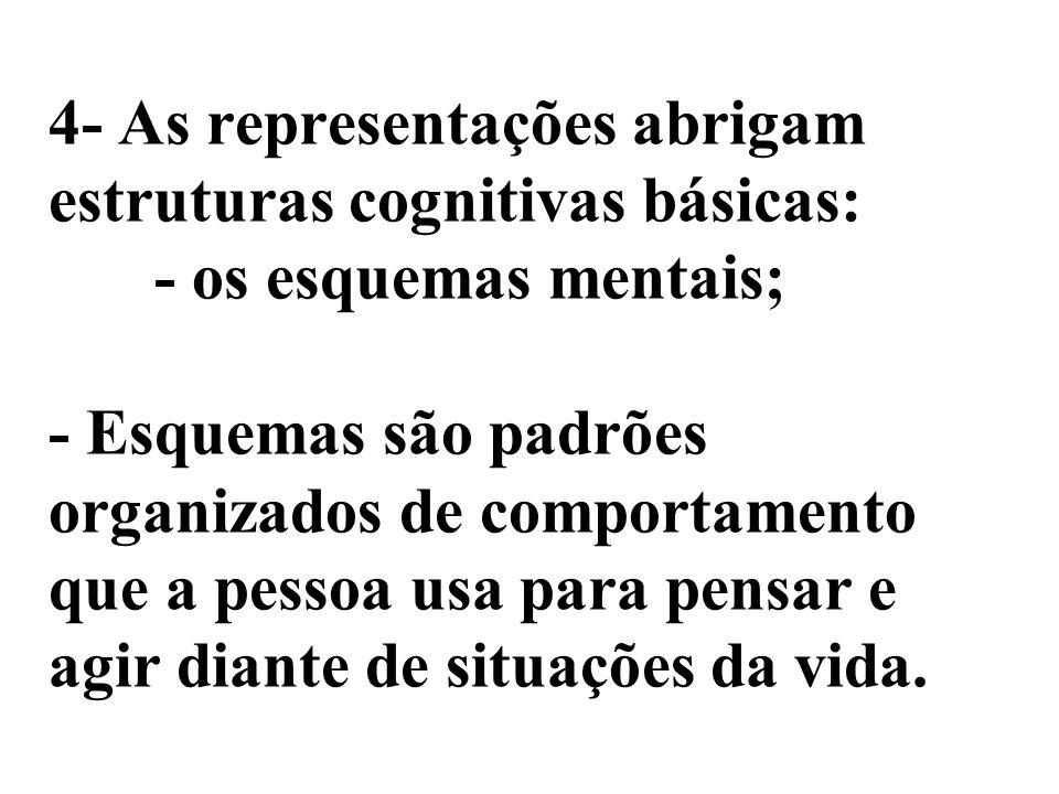 4- As representações abrigam estruturas cognitivas básicas: