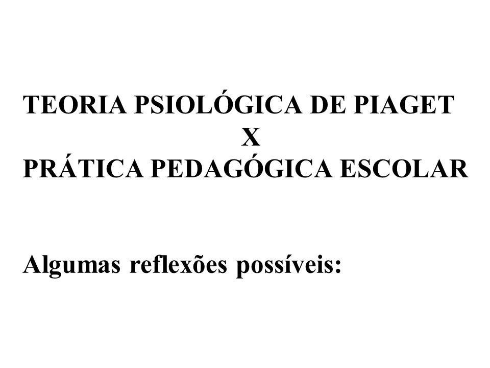 TEORIA PSIOLÓGICA DE PIAGET X PRÁTICA PEDAGÓGICA ESCOLAR Algumas reflexões possíveis: