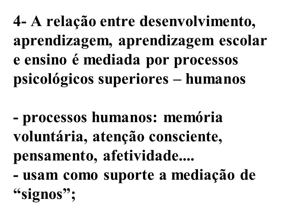 4- A relação entre desenvolvimento, aprendizagem, aprendizagem escolar e ensino é mediada por processos psicológicos superiores – humanos - processos humanos: memória voluntária, atenção consciente, pensamento, afetividade....