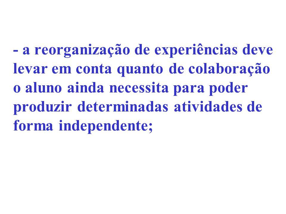 - a reorganização de experiências deve levar em conta quanto de colaboração o aluno ainda necessita para poder produzir determinadas atividades de forma independente;