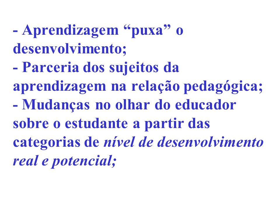- Aprendizagem puxa o desenvolvimento; - Parceria dos sujeitos da aprendizagem na relação pedagógica; - Mudanças no olhar do educador sobre o estudante a partir das categorias de nível de desenvolvimento real e potencial;