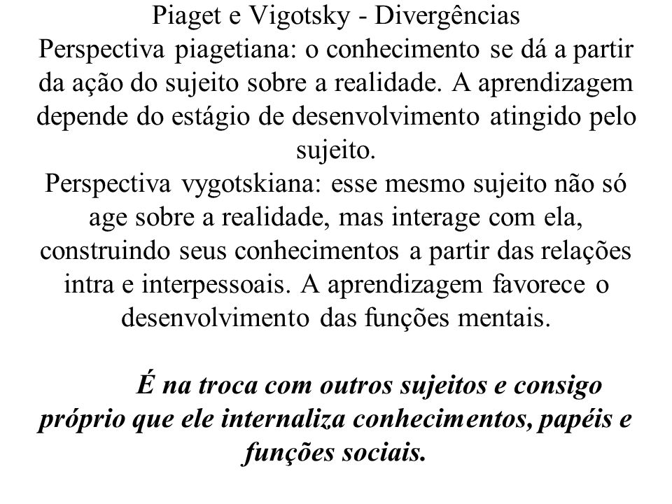 Piaget e Vigotsky - Divergências Perspectiva piagetiana: o conhecimento se dá a partir da ação do sujeito sobre a realidade.