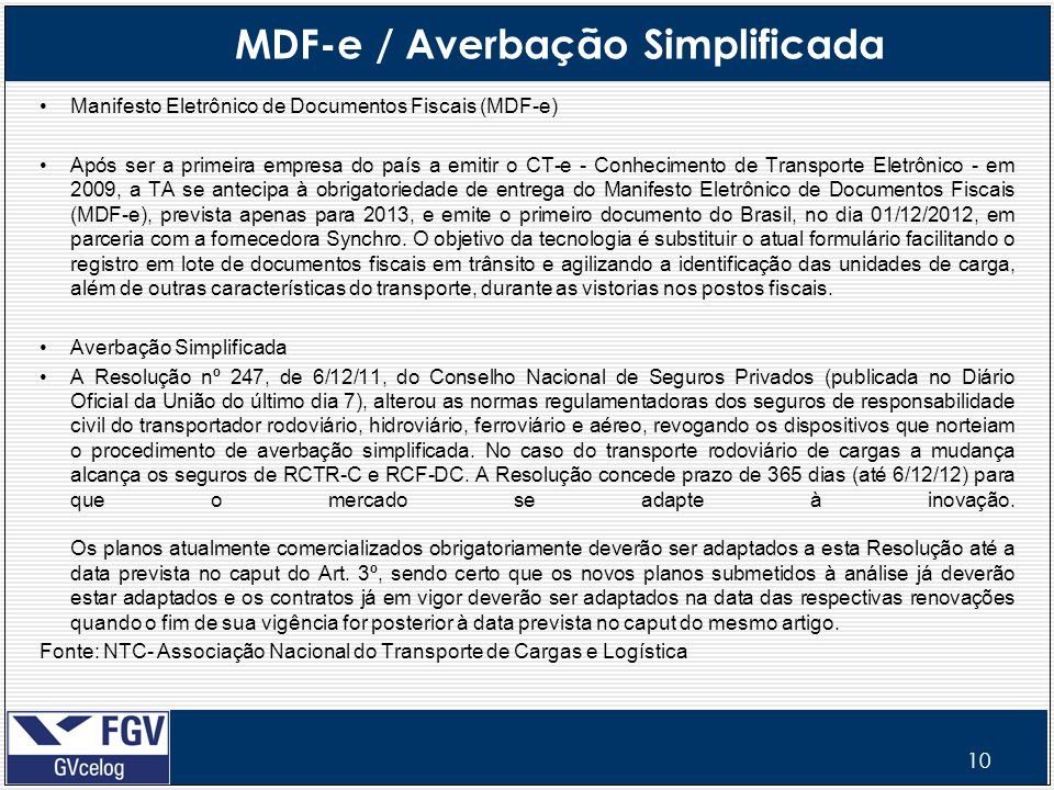 MDF-e / Averbação Simplificada