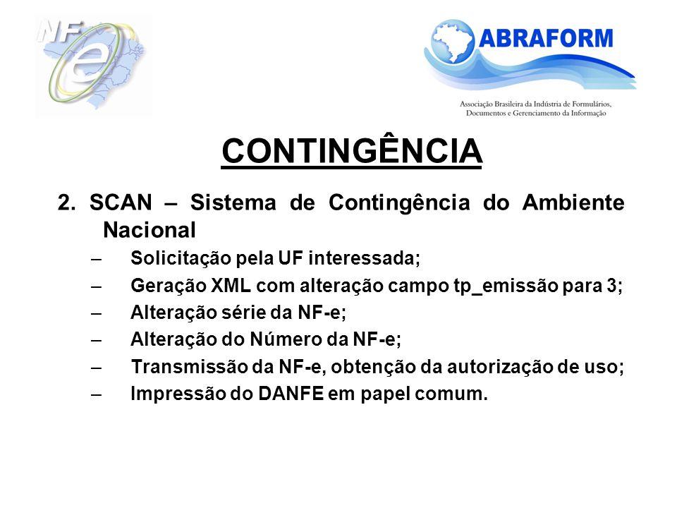 CONTINGÊNCIA 2. SCAN – Sistema de Contingência do Ambiente Nacional