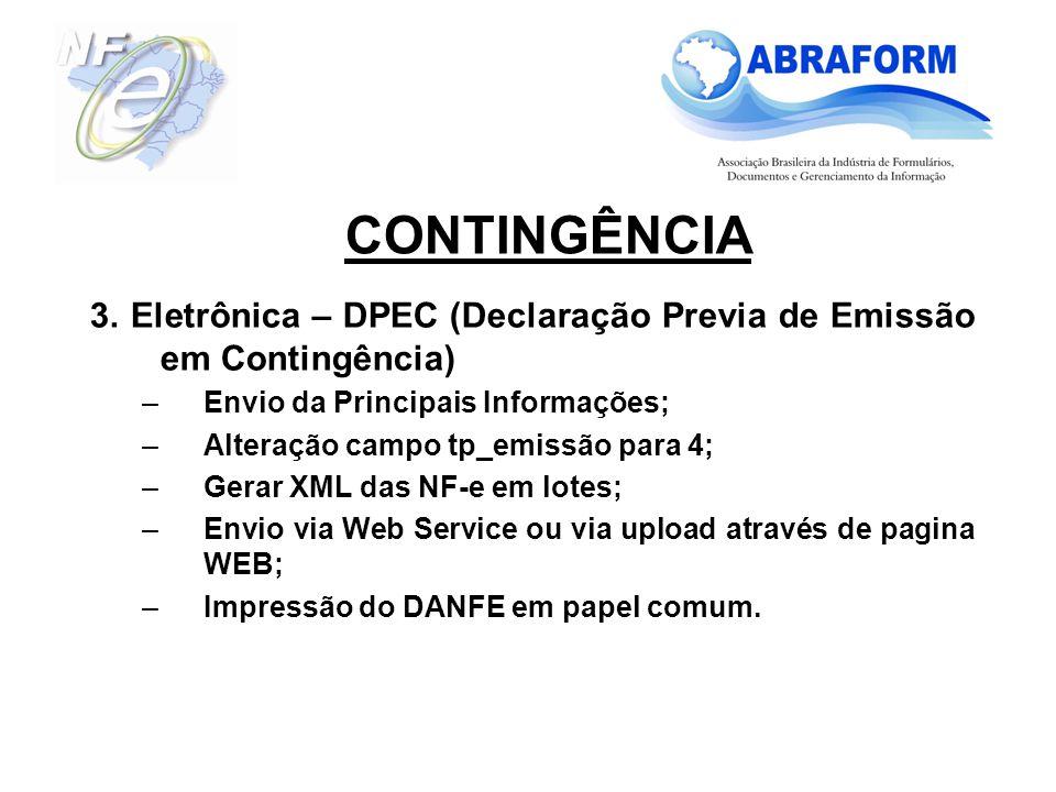 CONTINGÊNCIA 3. Eletrônica – DPEC (Declaração Previa de Emissão em Contingência) Envio da Principais Informações;