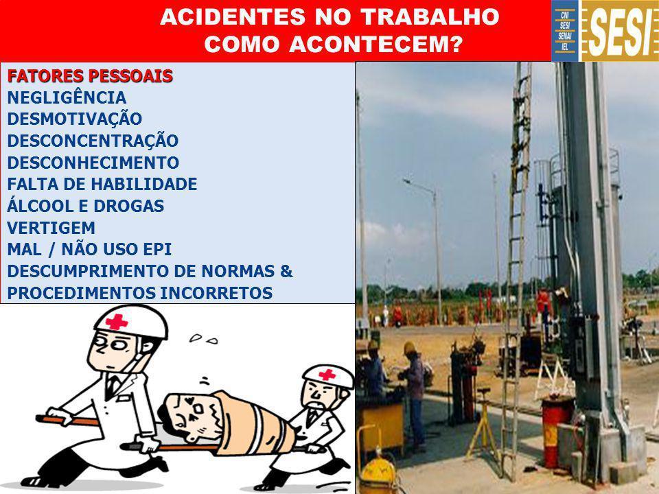 ACIDENTES NO TRABALHO COMO ACONTECEM
