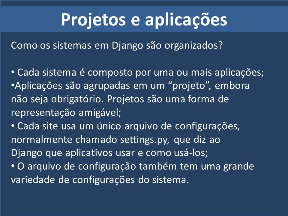 Projetos e aplicações Como os sistemas em Django são organizados