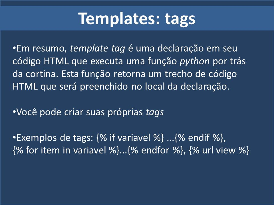 Templates: tags