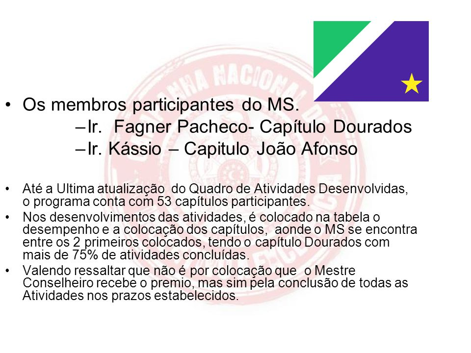 Os membros participantes do MS. Ir. Fagner Pacheco- Capítulo Dourados