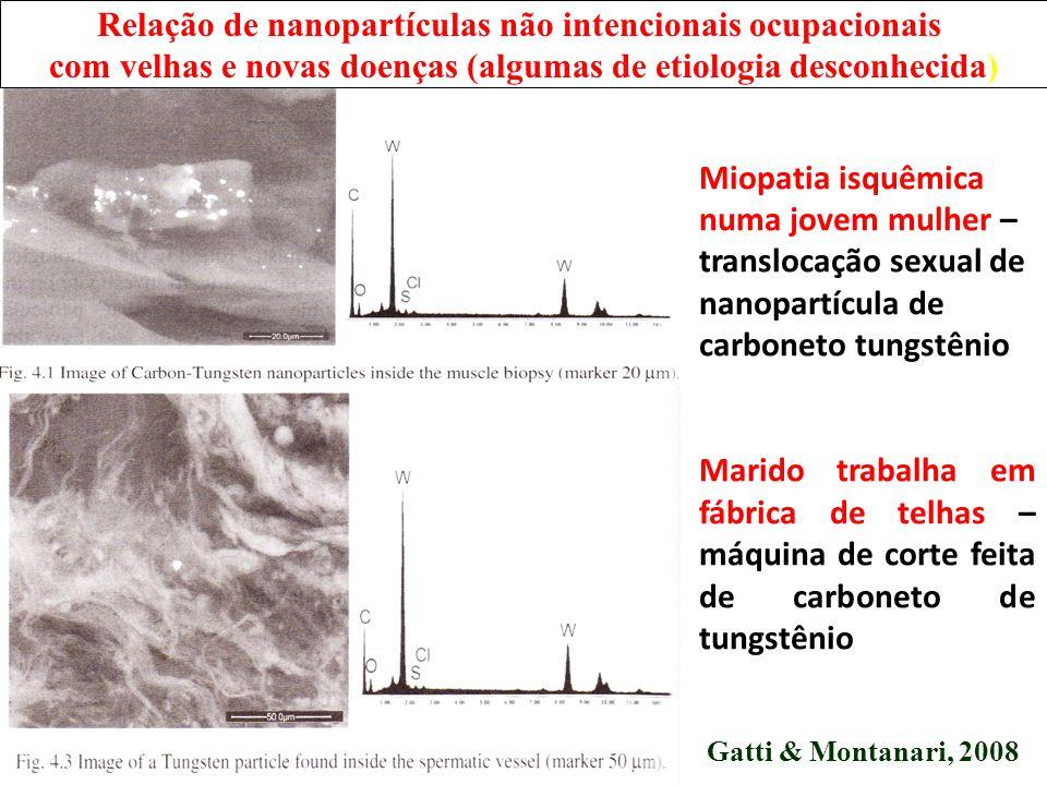 Relação de nanopartículas não intencionais ocupacionais