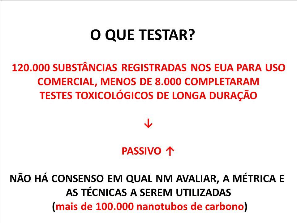 O QUE TESTAR 120.000 SUBSTÂNCIAS REGISTRADAS NOS EUA PARA USO