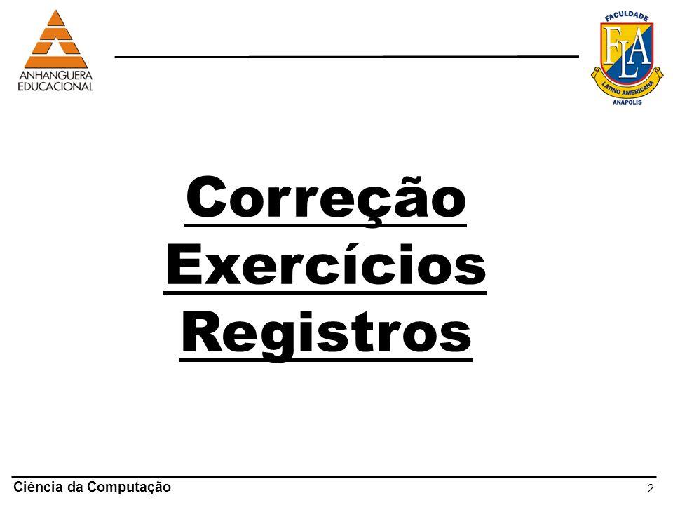 Correção Exercícios Registros