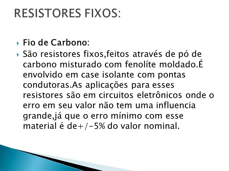 RESISTORES FIXOS: Fio de Carbono: