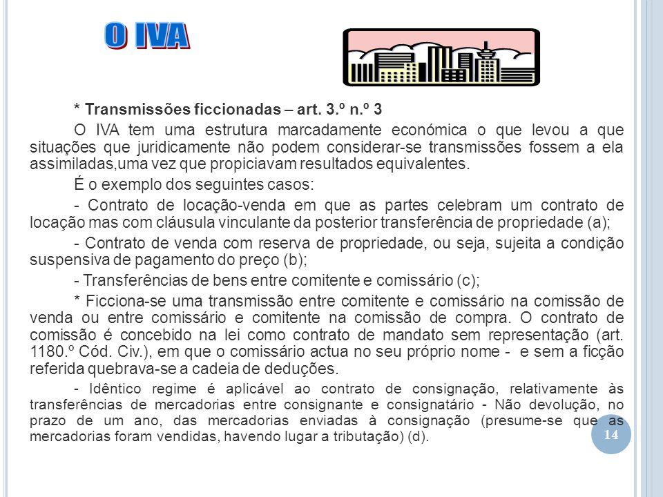 O IVA * Transmissões ficcionadas – art. 3.º n.º 3