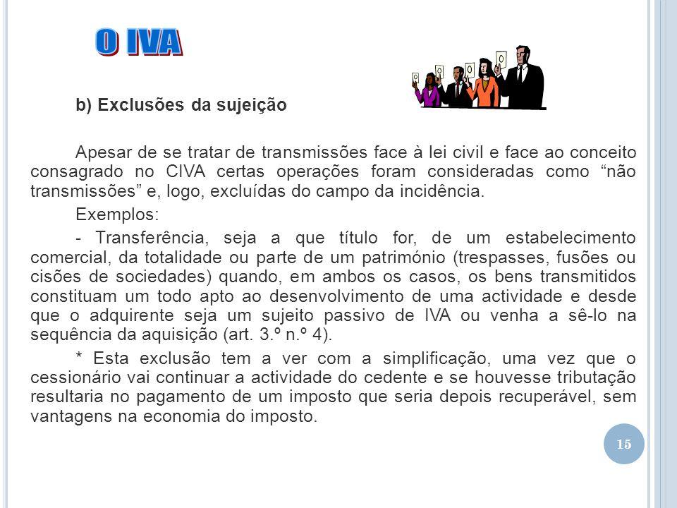 O IVA b) Exclusões da sujeição
