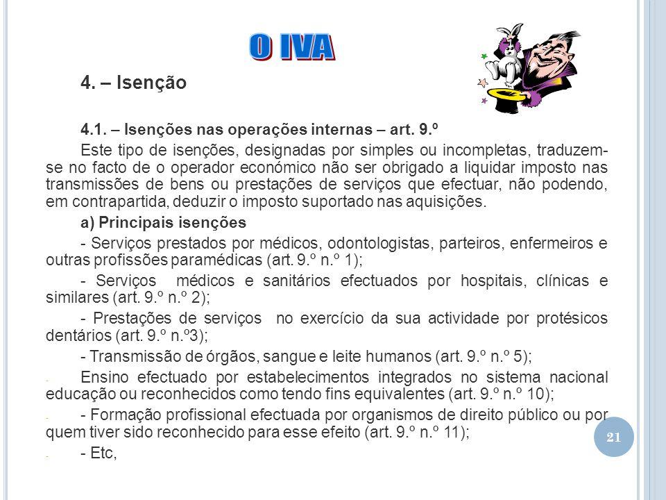 O IVA 4. – Isenção 4.1. – Isenções nas operações internas – art. 9.º
