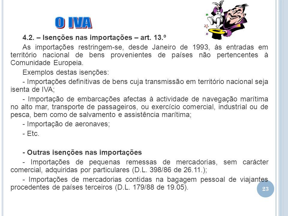 O IVA 4.2. – Isenções nas importações – art. 13.º