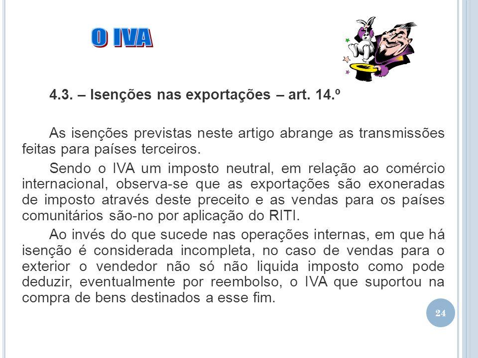 O IVA 4.3. – Isenções nas exportações – art. 14.º