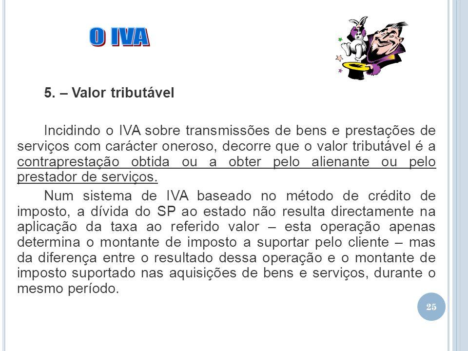 O IVA 5. – Valor tributável
