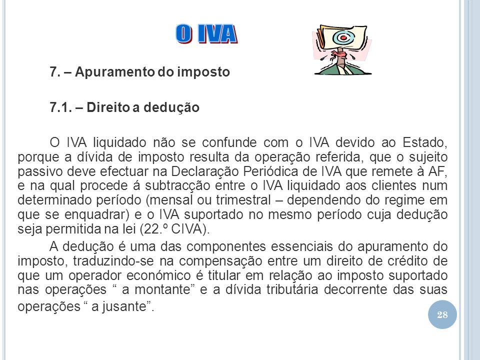 O IVA 7. – Apuramento do imposto 7.1. – Direito a dedução