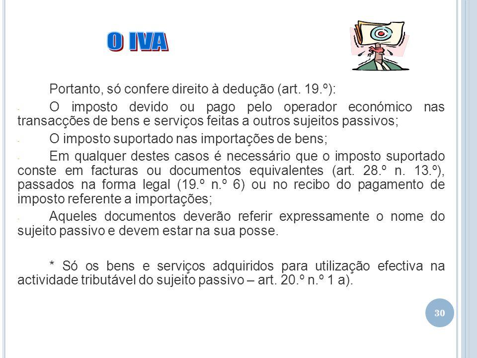 O IVA Portanto, só confere direito à dedução (art. 19.º):