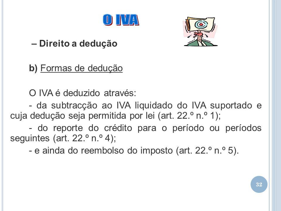 O IVA – Direito a dedução b) Formas de dedução