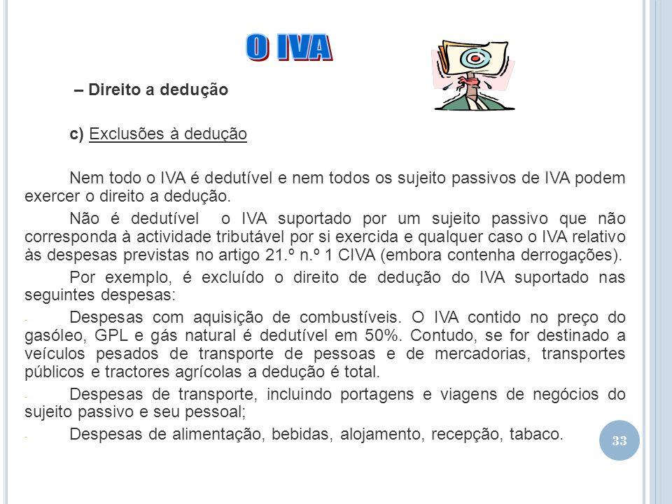 O IVA – Direito a dedução c) Exclusões à dedução