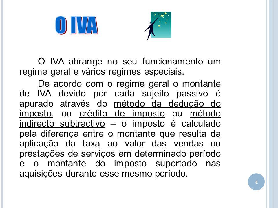 02-04-2017 O IVA. O IVA abrange no seu funcionamento um regime geral e vários regimes especiais.