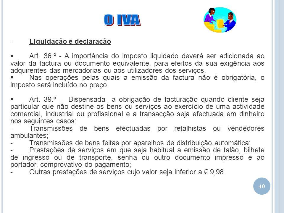 O IVA Liquidação e declaração