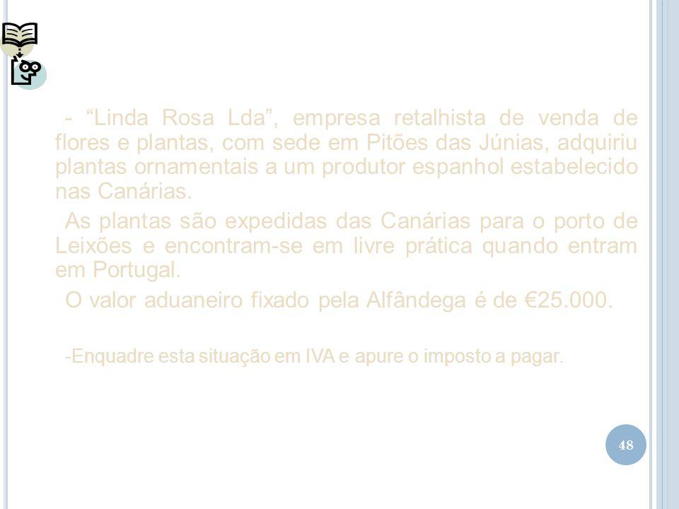 O valor aduaneiro fixado pela Alfândega é de €25.000.