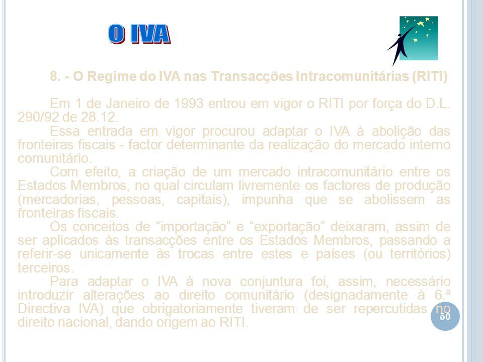 O IVA 8. - O Regime do IVA nas Transacções Intracomunitárias (RITI)