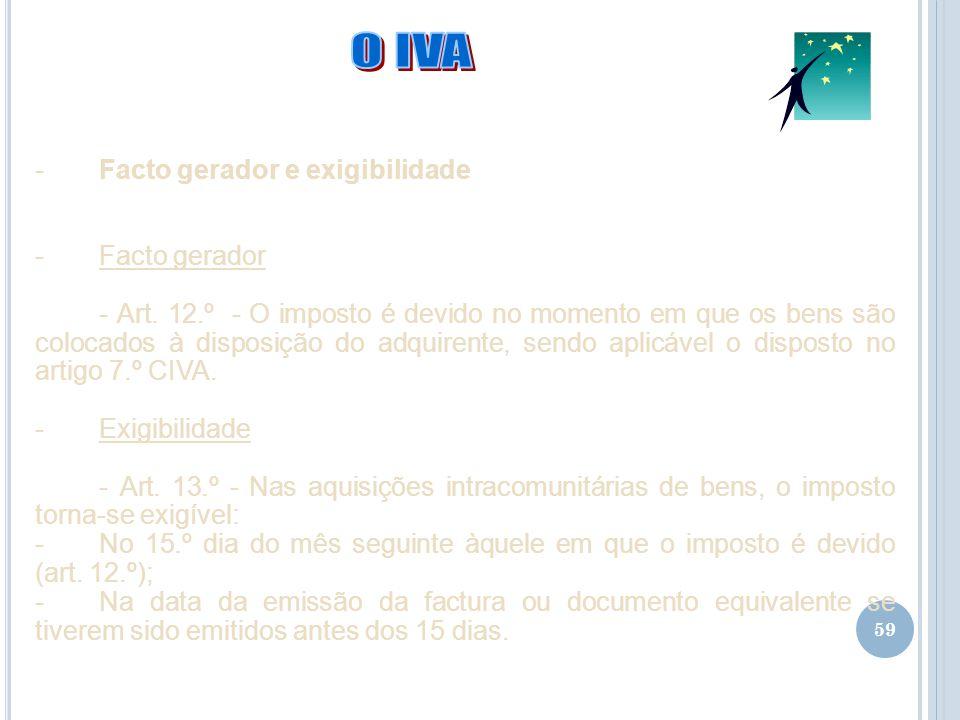 O IVA Facto gerador e exigibilidade Facto gerador
