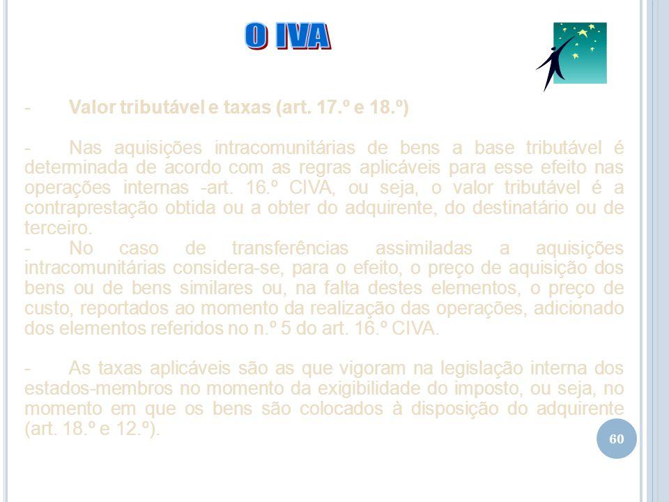 O IVA Valor tributável e taxas (art. 17.º e 18.º)