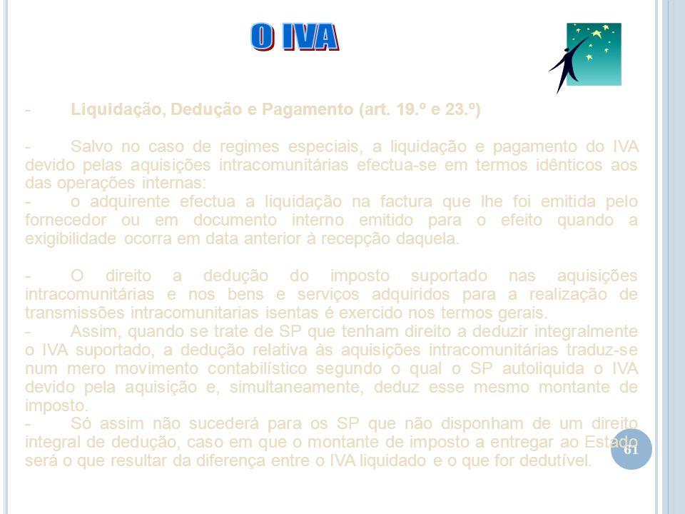 O IVA Liquidação, Dedução e Pagamento (art. 19.º e 23.º)