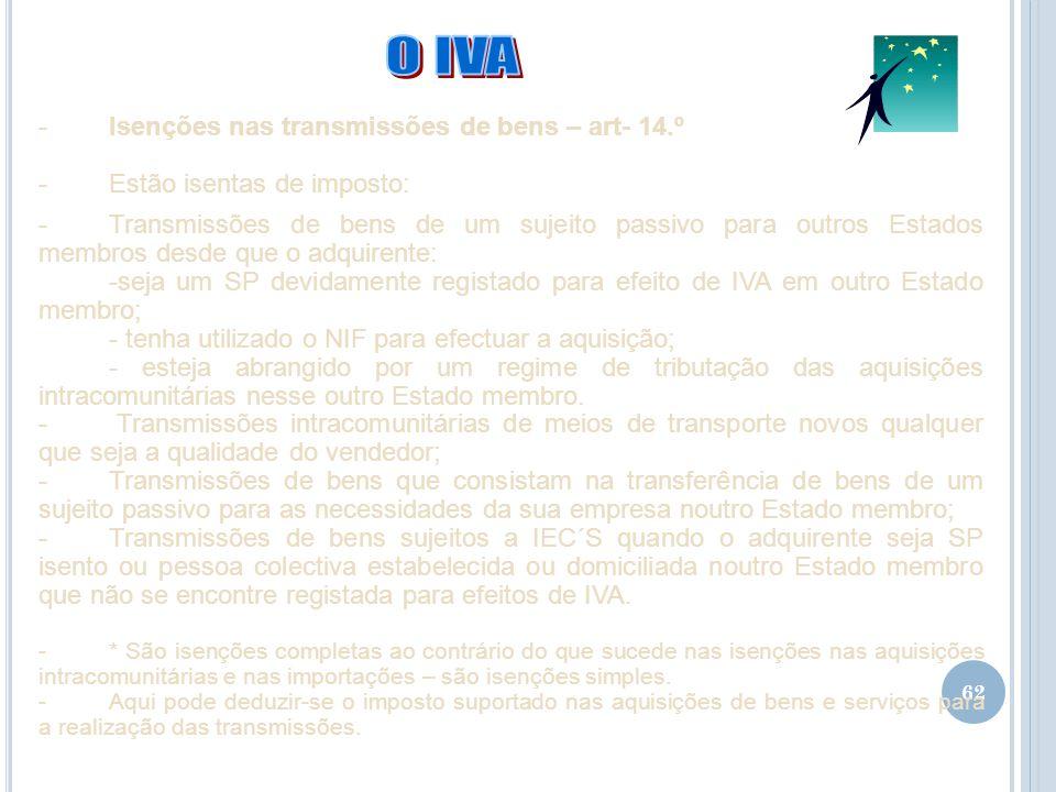 O IVA Isenções nas transmissões de bens – art- 14.º
