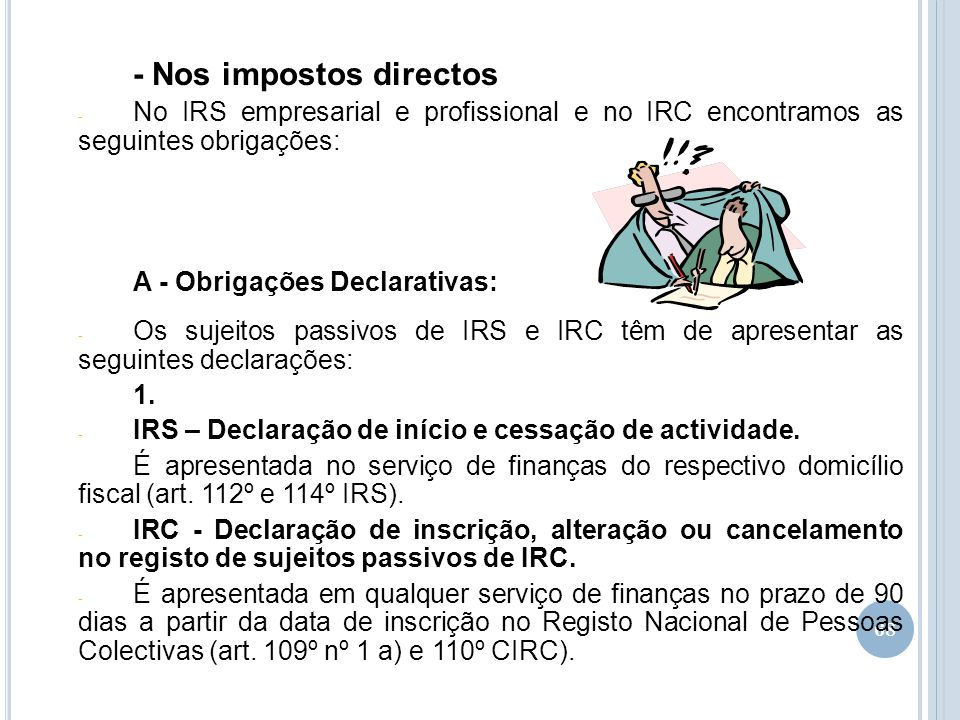- Nos impostos directos