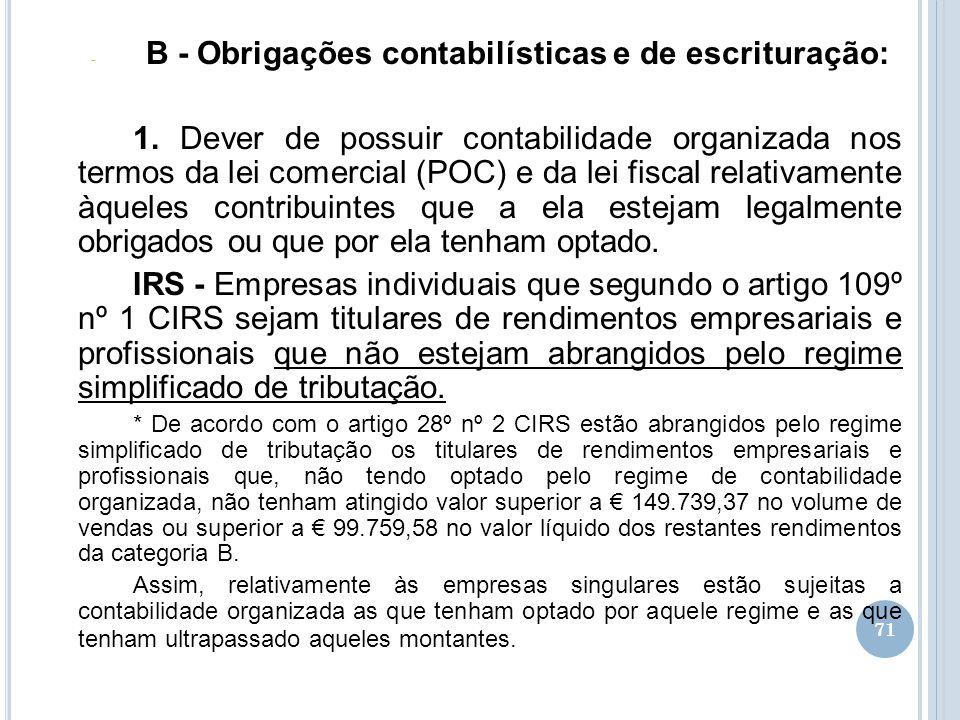 B - Obrigações contabilísticas e de escrituração: