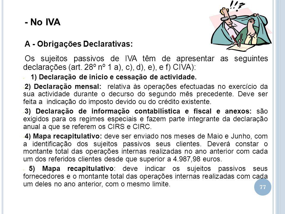 - No IVA A - Obrigações Declarativas: