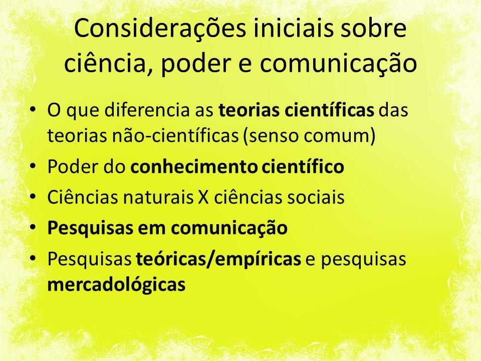Considerações iniciais sobre ciência, poder e comunicação