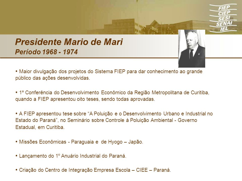 Presidente Mario de Mari Período 1968 - 1974