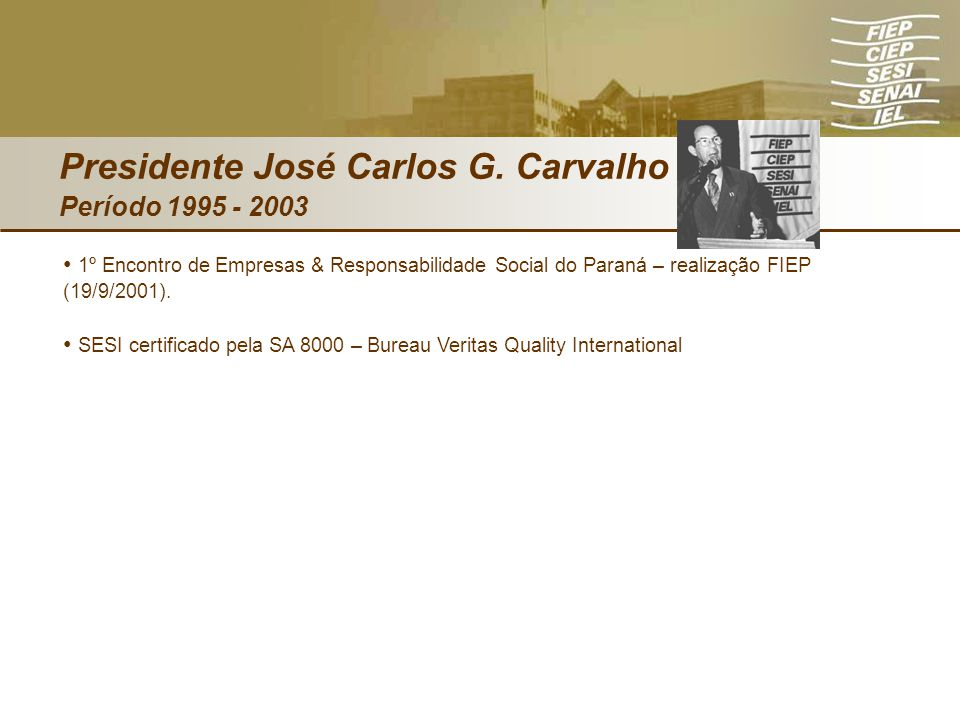 Presidente José Carlos G. Carvalho Período 1995 - 2003