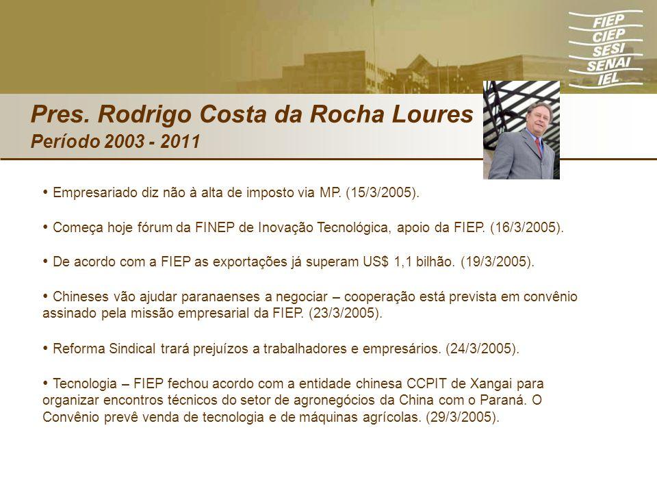 Pres. Rodrigo Costa da Rocha Loures Período 2003 - 2011