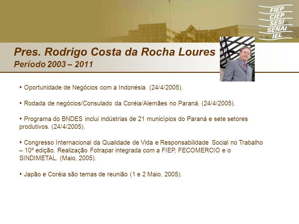 Pres. Rodrigo Costa da Rocha Loures Período 2003 – 2011