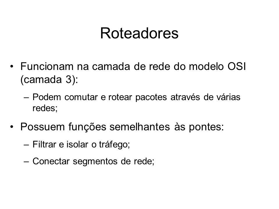 Roteadores Funcionam na camada de rede do modelo OSI (camada 3):