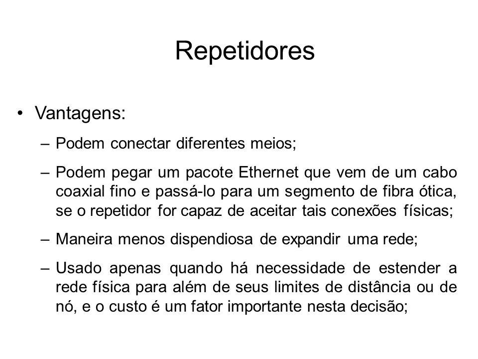 Repetidores Vantagens: Podem conectar diferentes meios;