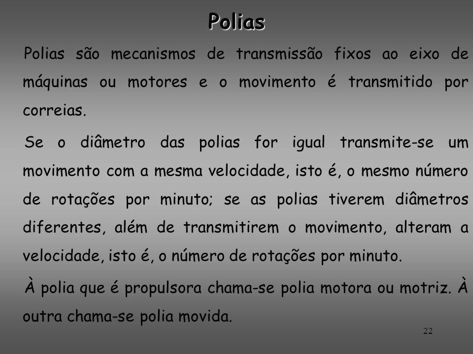 Polias Polias são mecanismos de transmissão fixos ao eixo de máquinas ou motores e o movimento é transmitido por correias.