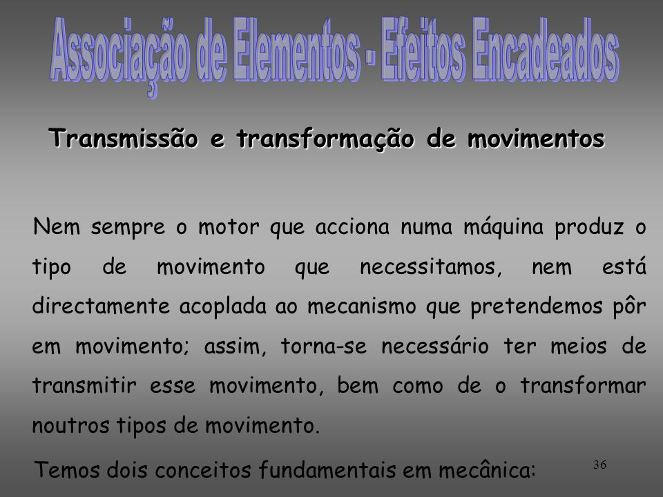 Transmissão e transformação de movimentos