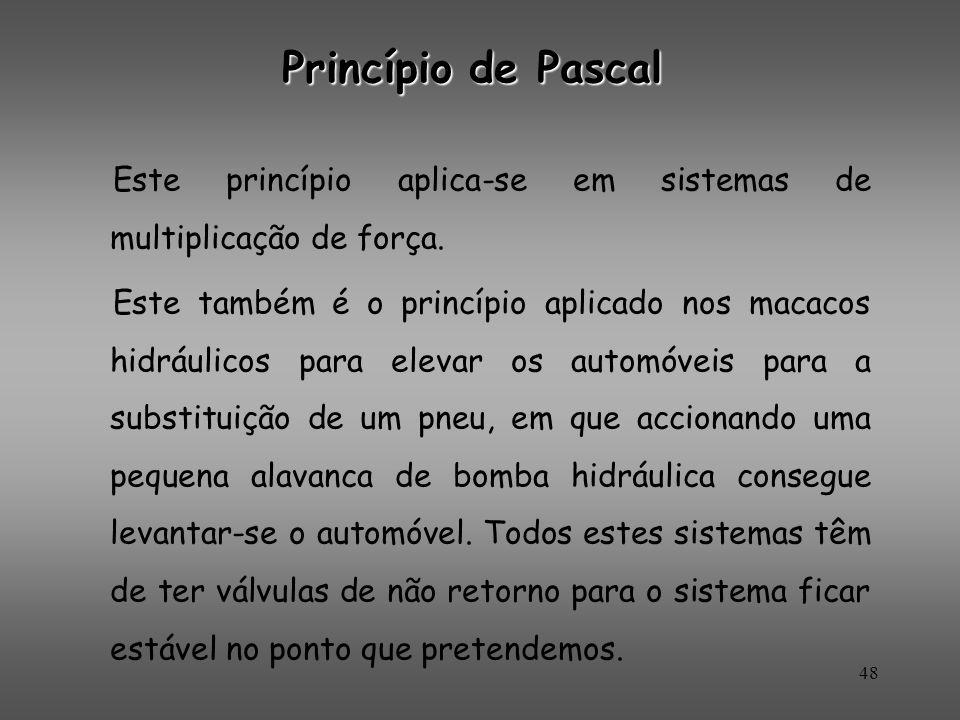 Princípio de Pascal Este princípio aplica-se em sistemas de multiplicação de força.