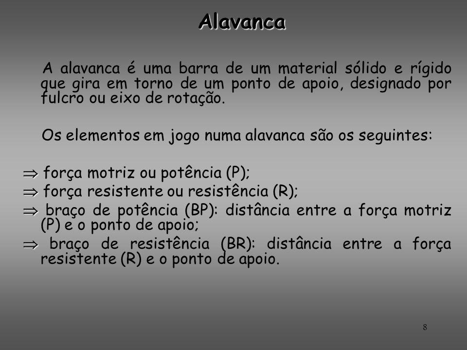 Alavanca A alavanca é uma barra de um material sólido e rígido que gira em torno de um ponto de apoio, designado por fulcro ou eixo de rotação.