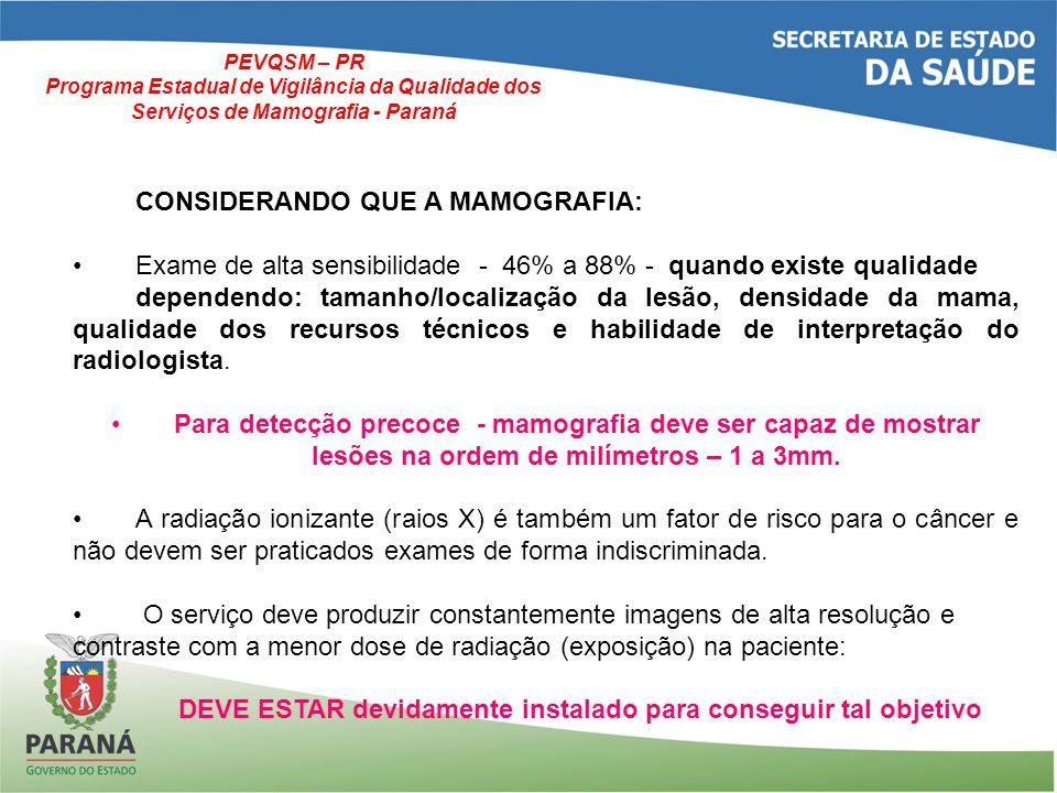 CONSIDERANDO QUE A MAMOGRAFIA: